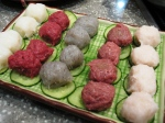 5 different kinds of hand-made balls - (fm left to right) white fish, beef, dace fish, beef brisket and octopus