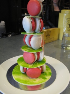 a mini Christmas tree made with macarons at Bella