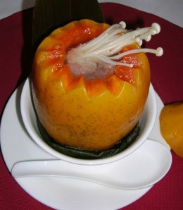 braised whole papaya soup