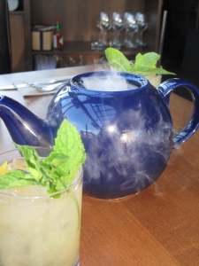 A pot of icy cool smoky cocktail