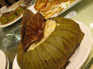 Fried-rice wrapped in lotus leaf